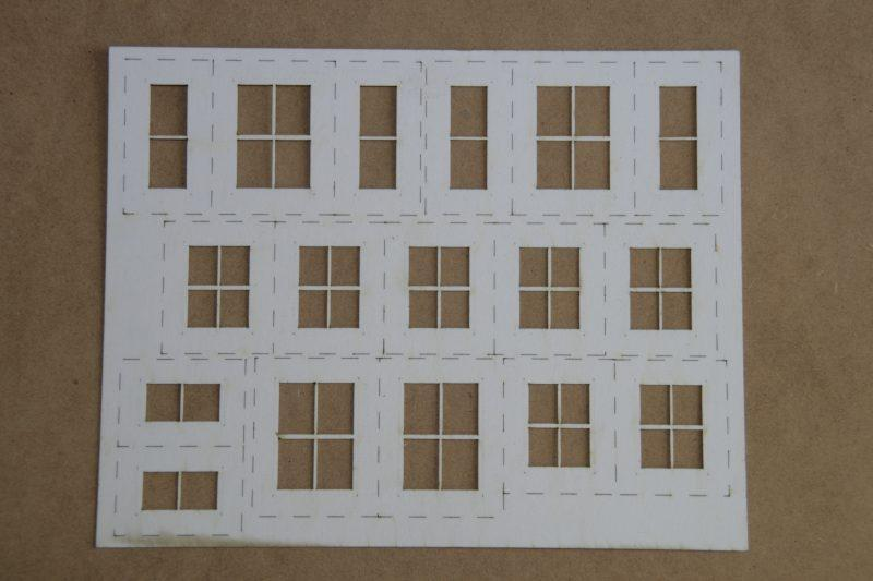 O Gauge House Windows with Glass