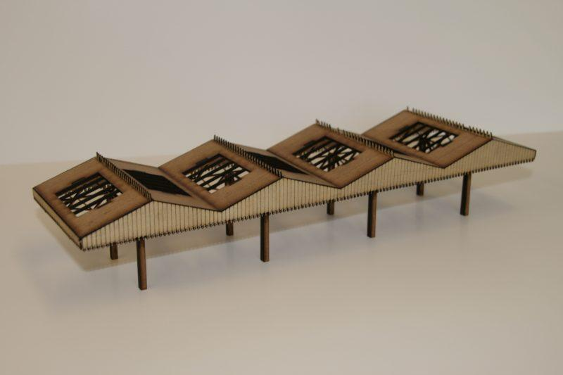 OO Gauge Station Canopy with Roof Lights (96mm)